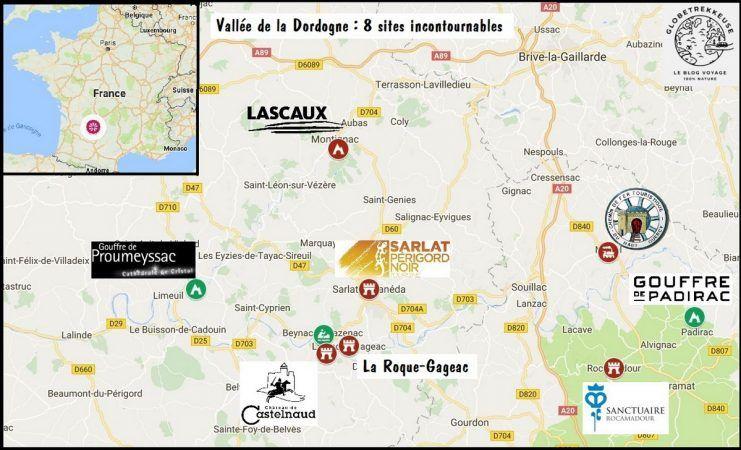 Vallee De La Dordogne Carte Globetrekkeuse La Dordogne Dordogne