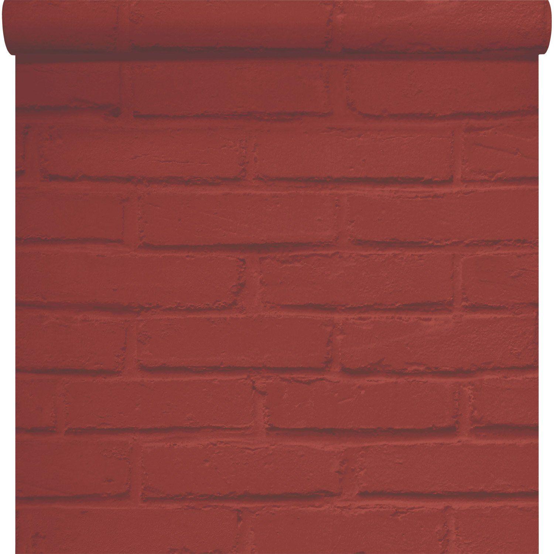 Papier Peint Papier Brique Loft Rouge Leroy Merlin Deco