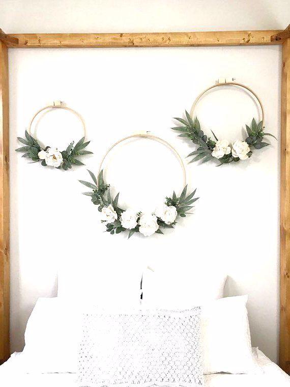 Photo of Large ivory peony and eucalyptus wreath, set of 3. Wedding background. Kindergarten …