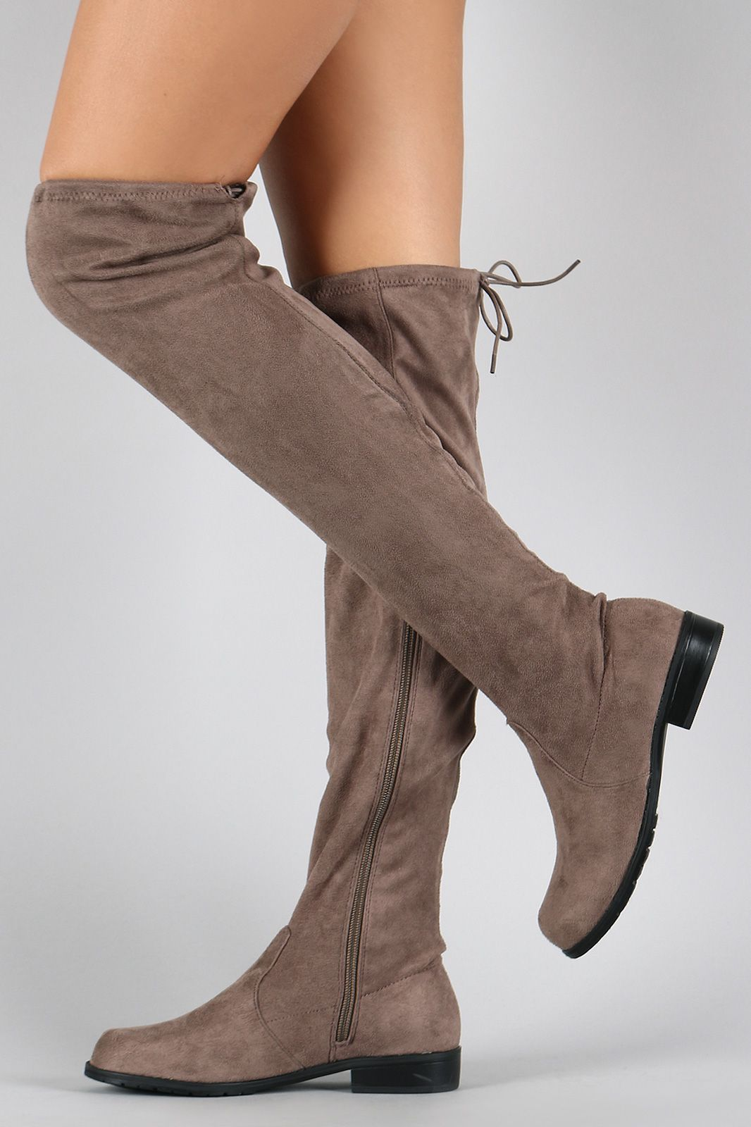 Bamboo Faux Suede Tied Flat Flat Tied Thigh High Boot Zapatos Pinterest fcf5c8