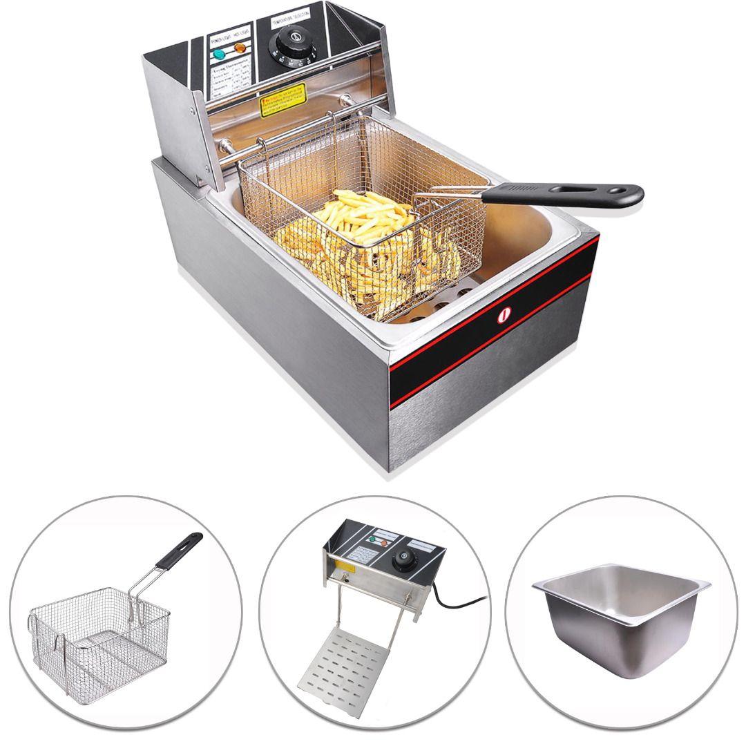 10l Commercial Electric Single Tank Basket Countertop Deep Fryer