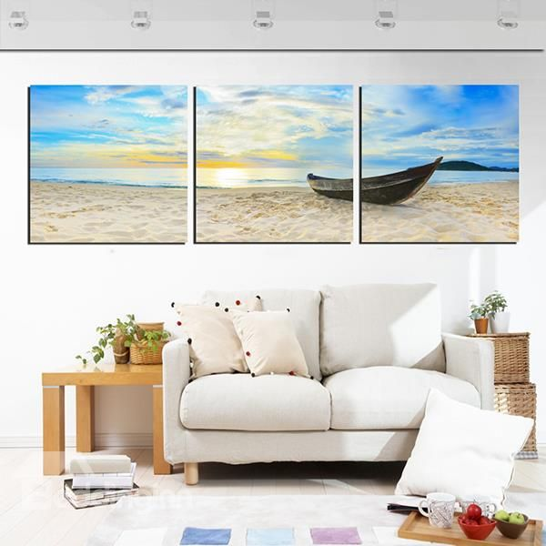 Deserted Boat On The Beach In Sunset 3 Panel Canvas Wall Art
