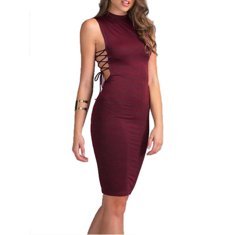 Lace Up Sexy Wine Red Dress