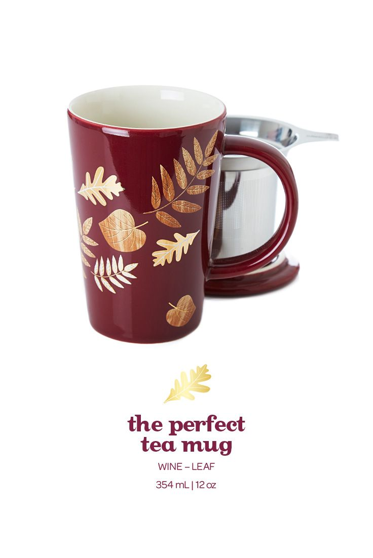 Stay Cozy With This Pretty Mug Adorned With Gold And Wood Grain Leaves Davids Tea Tea Mugs Wine Leaves