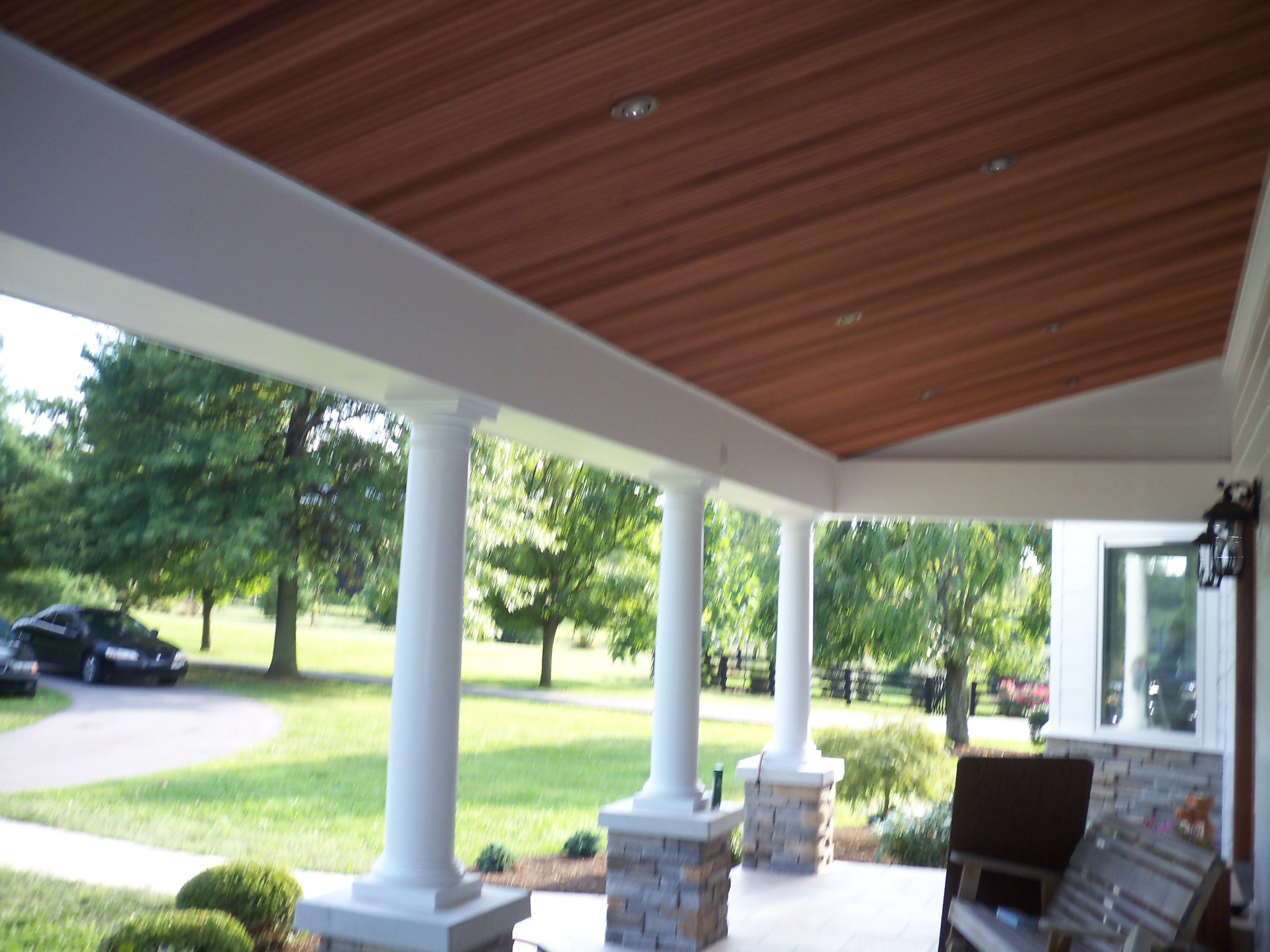 Wood Ceiling And Can Lights On Porch Can Lights Porch Lighting