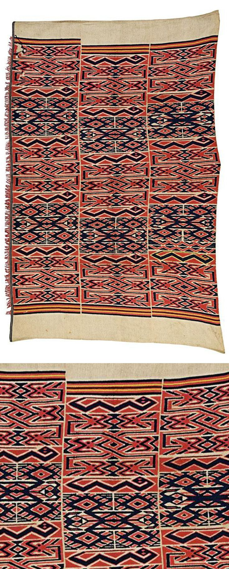 Africa | An Oshugbo society cloth from Nigeria | Cotton; woven in three strips with stylised snakes amongst horizontal geometric patterns in red, yellow and indigo on a cream ground