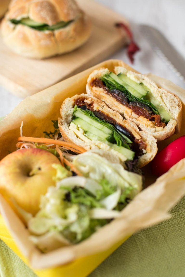 Veggie stuffed picnic rolls - perfect for packed lunches, these rolls are hollowed out and filled with cheese, veggies, and whatever else you fancy! A brilliant back to school lunch.