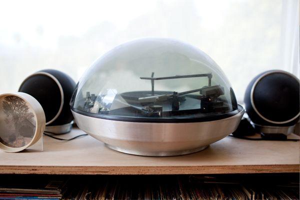 Shirley Kurata's snow globe shaped record player