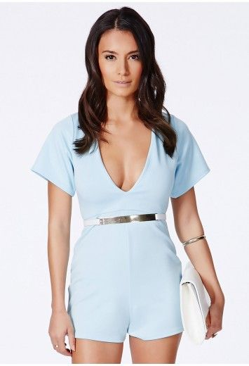 3c7b83ac38 Missguided - Lesaka Scuba Plunge Romper In Powder Blue