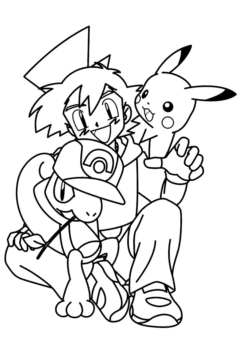 Ash Ketchum And Pokemons High Quality Free Coloring From The Category Pokemon More Printabl Pokemon Coloring Pages Pokemon Coloring Pokemon Coloring Sheets