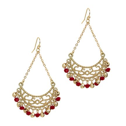 Indian inspired, the Lysette gold and garnet earrings are ...