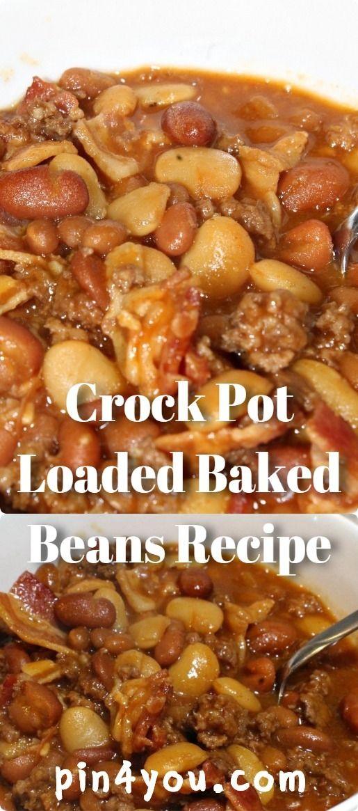 Crock Pot Loaded Baked Beans Recipe #crockpotmeals