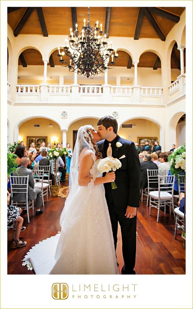 Limelight Photography, www.stepintothelimelight.com, Wedding, Avila Golf and Country Club, Florida, Ceremony, Bride, White, Wedding Dress, Groom, Black, Bouquet, Rose, White, Kiss