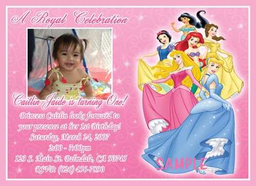 Custom Photo Birthday Party Invitations Disney Princess and Frog – Disney Photo Birthday Invitations