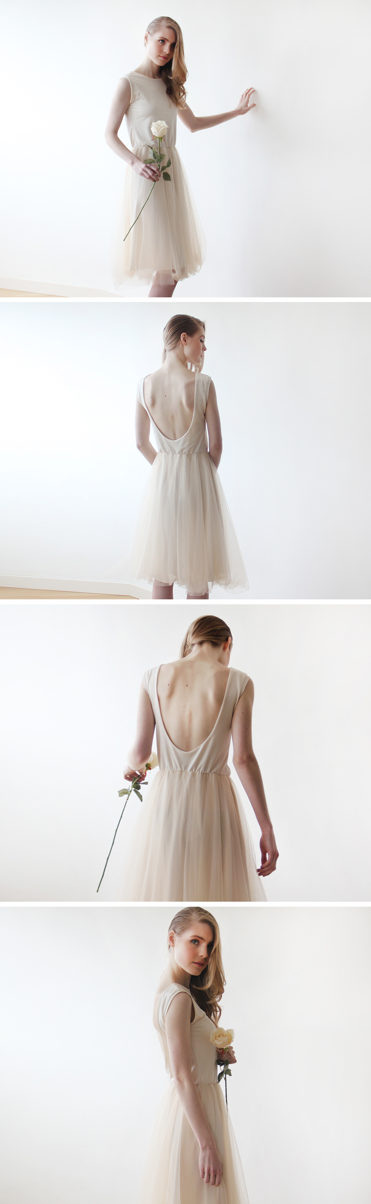 Champagne Midi Tulle Dress with Open Back – Alice in Wonderland ...