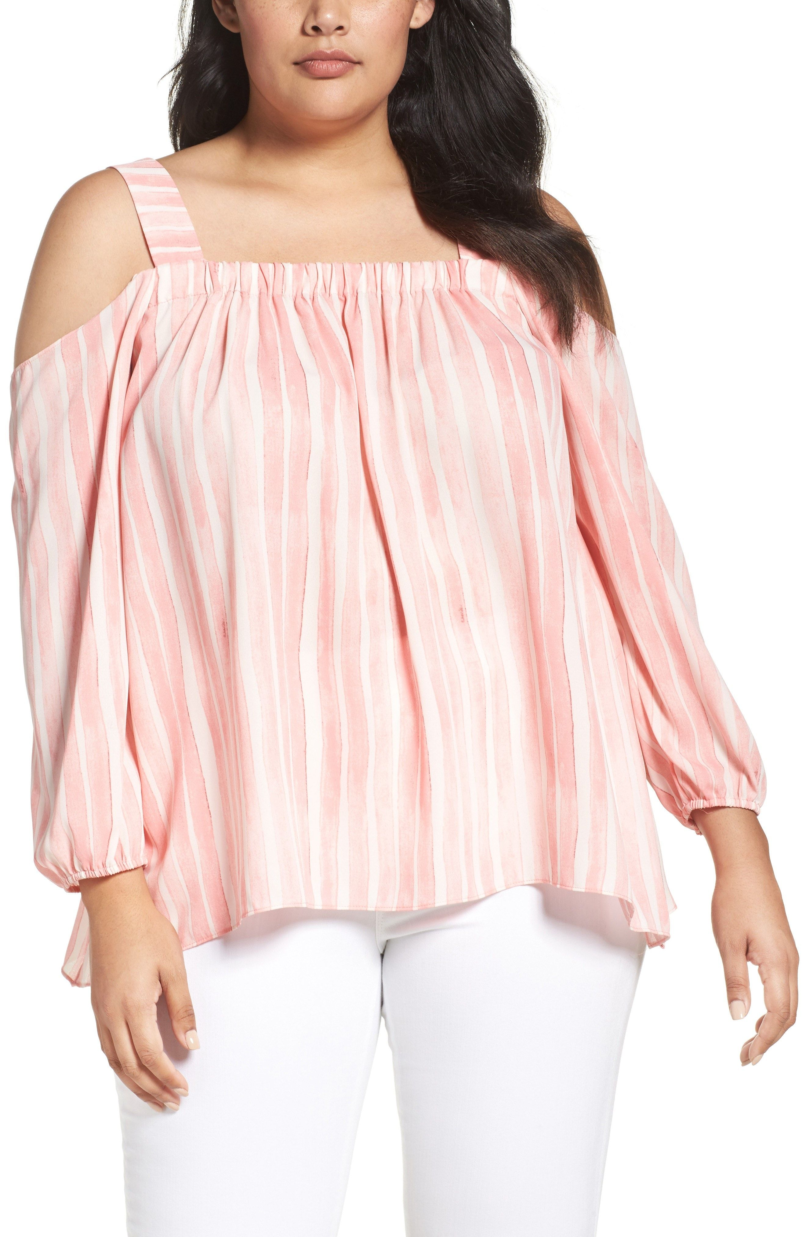 755d93528a732 New Vince Camuto Graceful Phrases Cold Shoulder Blouse (Plus Size) CORAL  ROSE fashion online.   89  new offer from Thenewoffer