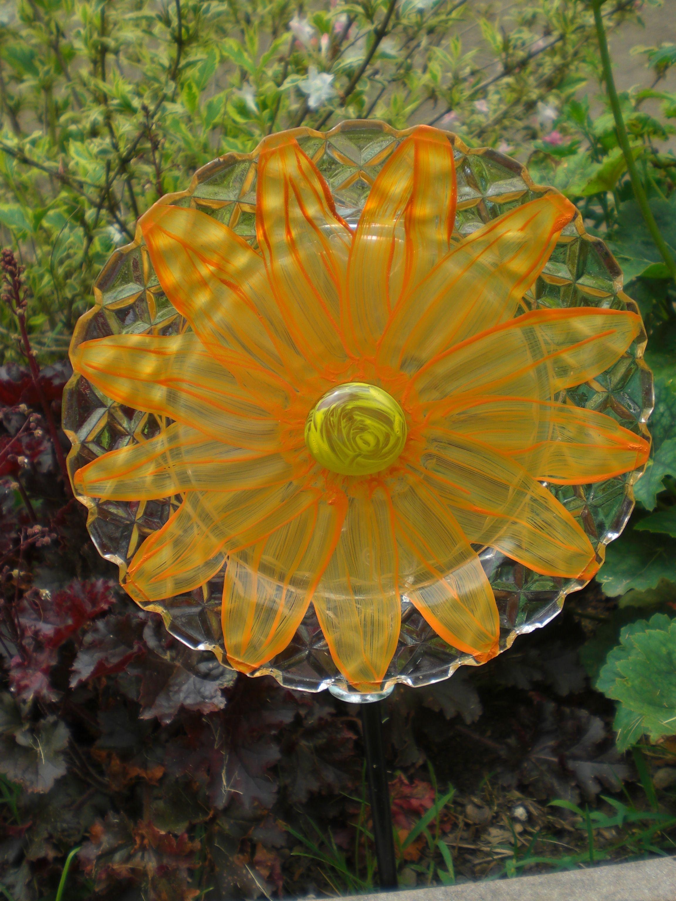 Orange Flower With Yellow Bead Center 7 Glass Garden Flower Glass