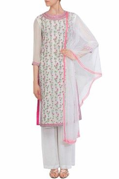 d9a4749371d A white round neck straight georgette kurta with pink and green floral  thread embroidery all over. It has sequin work around neckline and high  side slits.