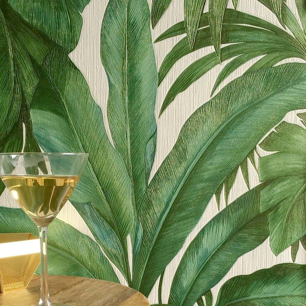 Versace 'Palm Leaf' Designer Leaf/Tree Wallpaper Green