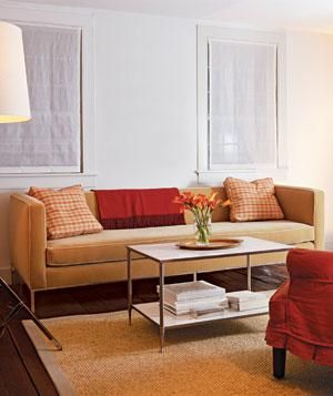 Modern living room with tan sofa and bright lighting | Surprising low-cost ways to update your home décor. & 21 Living Room Decorating Ideas | Pinterest | Minimalism Living ...