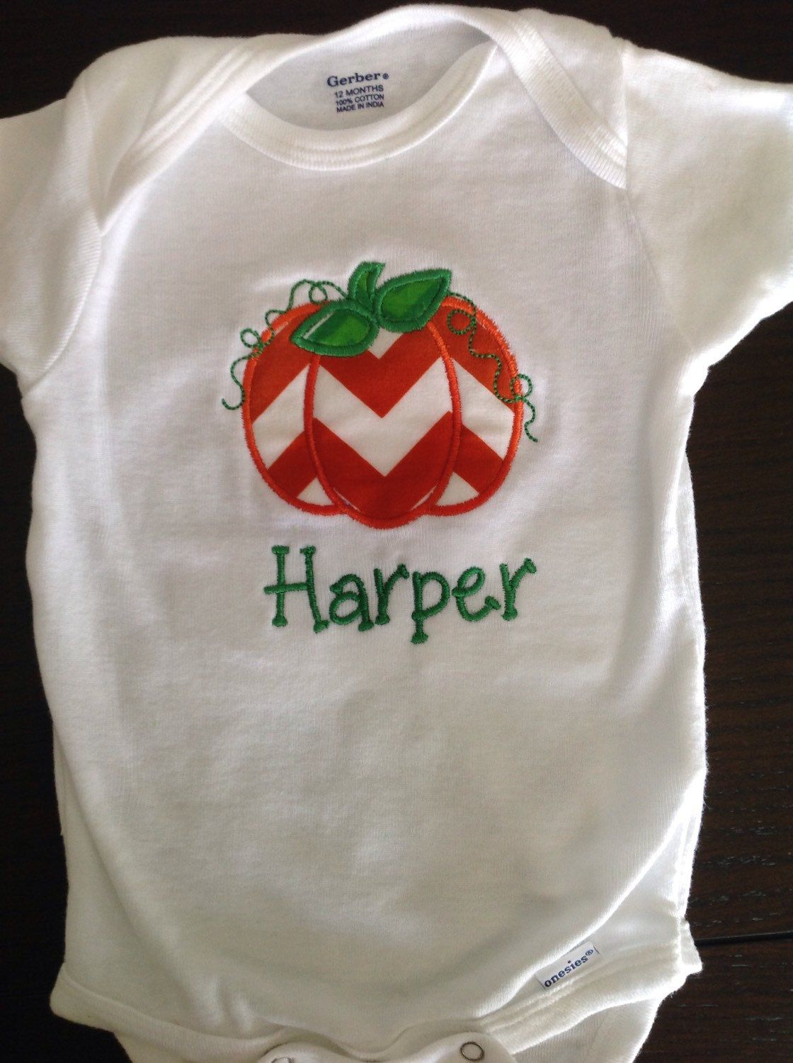 Pumpkin chevron personalized onesie by TheBlueSage on Etsy