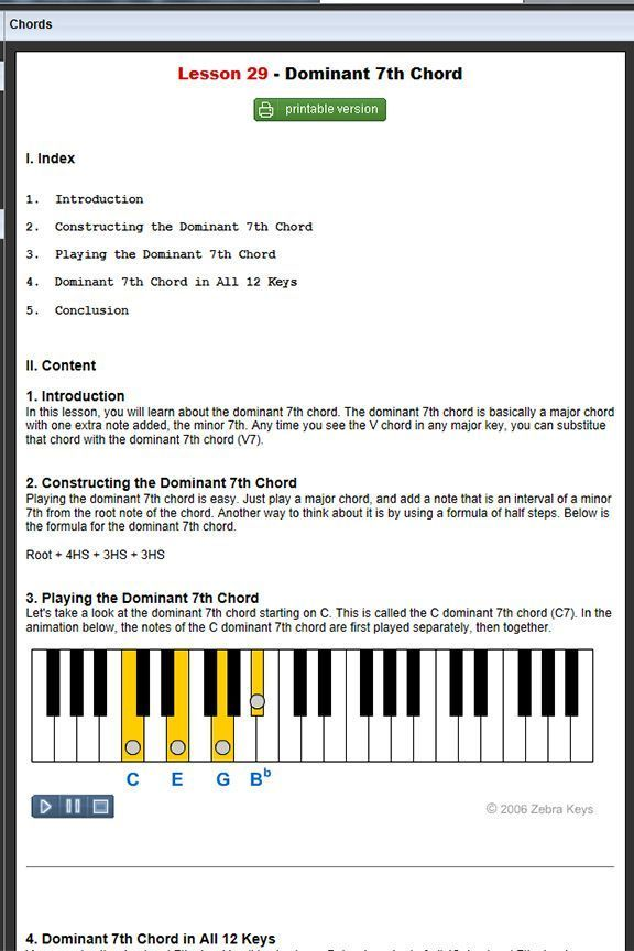 Free Online Piano Lessons Lesson 29 Dominant 7th Chord Learn