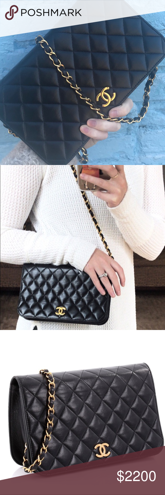 a0bf3c40bdc6 Chanel Vintage CC flap lambskin shoulder bag This authentic Chanel Vintage  3 Way Full Flap Bag