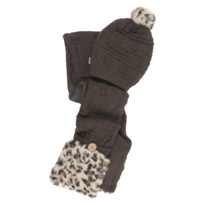 MUK LUKS® Pom Beanie with Fur Scarf set $17.48