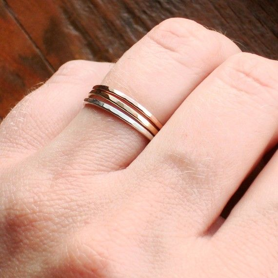 seriously thinking about getting these. / Set of Three - Rose Gold - Silver - Rustic Gold - Hammered Stack Rings - Mixed Metals / $32.00