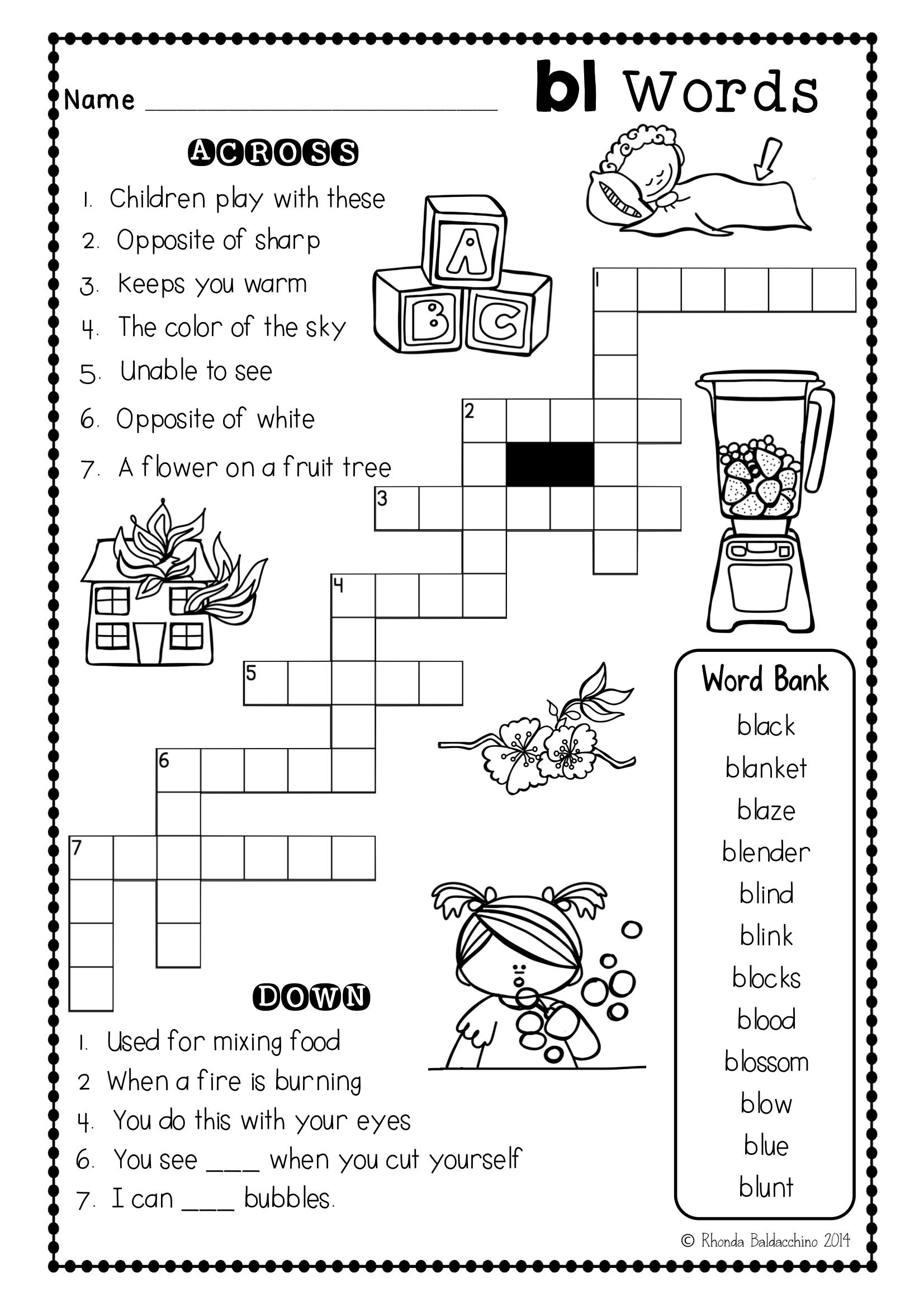 hight resolution of Fun Crossword Puzzles for blends   Consonant blends worksheets