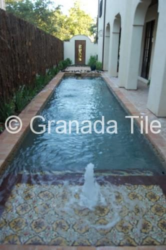 Fountain / pool by Jennifer Hamelet, Mirador Builders, with Granada Tile's Sofia design cement tile to line fountain and or pool