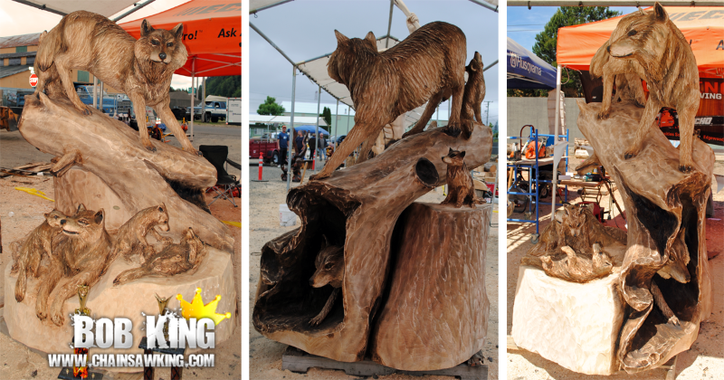 Wolves chainsaw carving by bob king st place sculpture
