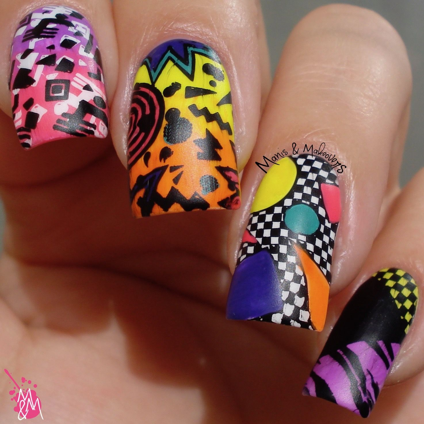 Manis Makeovers The Digit Al Dozen S 5th Birthday 80 S Party Luv Nails 80s Nails Nail Designs