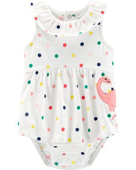 ada61841ae Polka Dot Dinosaur Sunsuit | Baby stuff | Carters baby girl, Baby ...