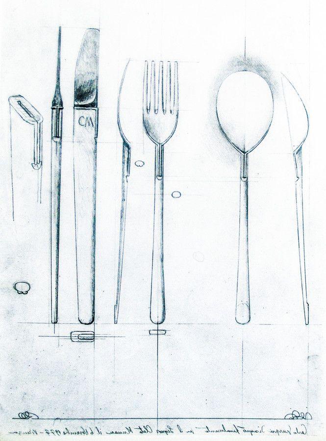 Carlo Scarpa (1906-1978) | Schizzo matte sul pergamena | Posate in argento .925 massiccio | Cleto Munari, Vicenza, Italia | c. 1977