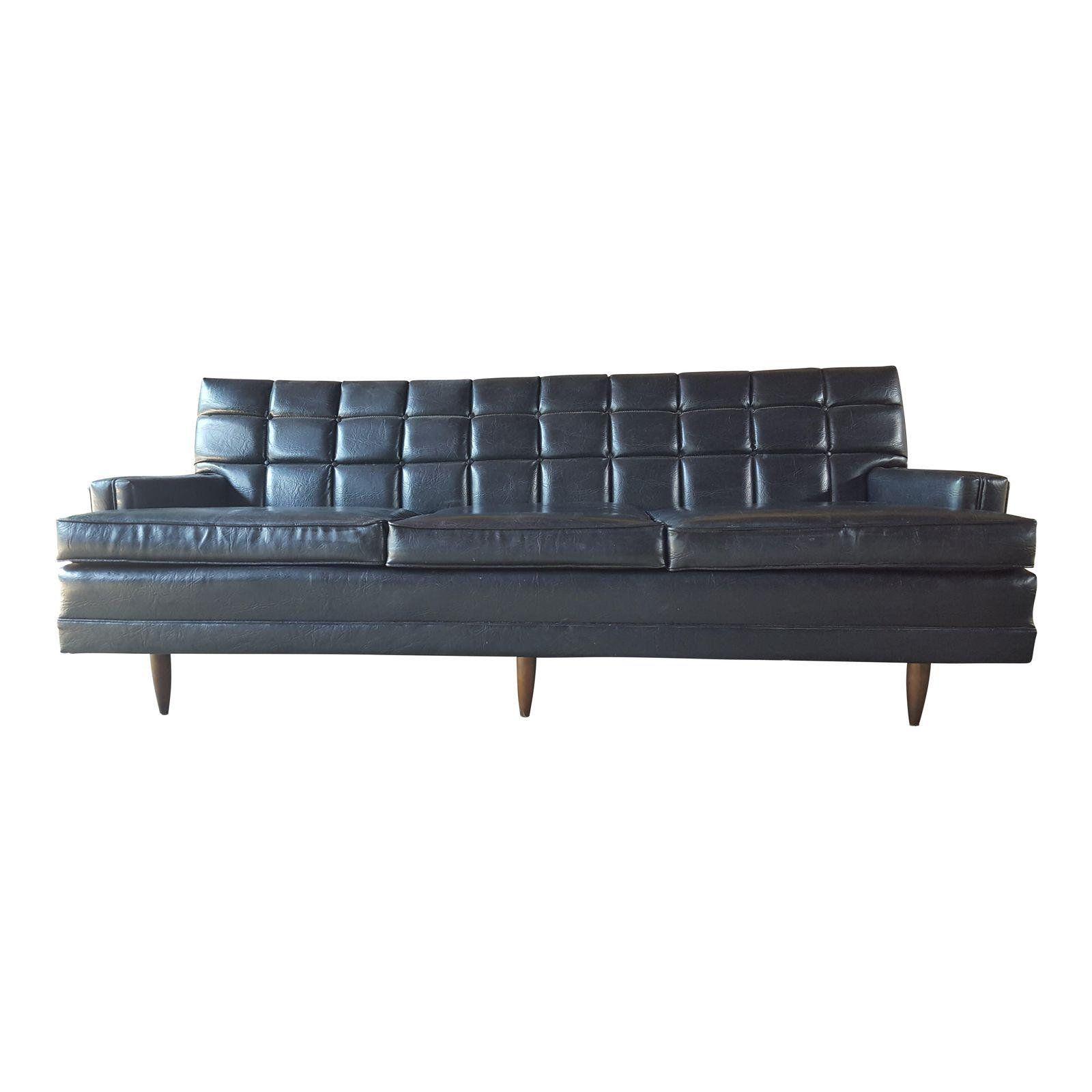 Naugahyde Leather Like Vintage Sofa