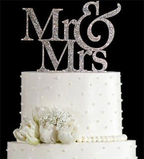 Mr Mrs Rhinestone Cake Topper