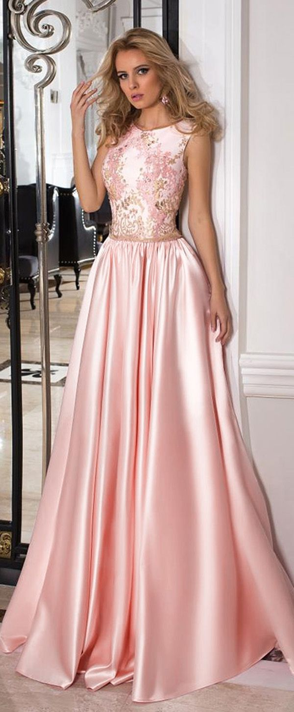 Chic Satin Jewel Neckline A-line Prom Dresses With Beaded Lace ...
