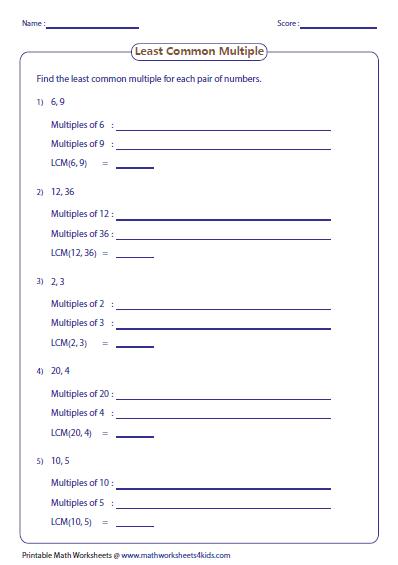 Least Common Multiple Worksheets Least Common Multiple Common Multiples Gcf And Lcm Worksheets