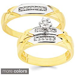 10k Gold 16ct TDW His and Her Diamond Wedding Ring Set HI I1