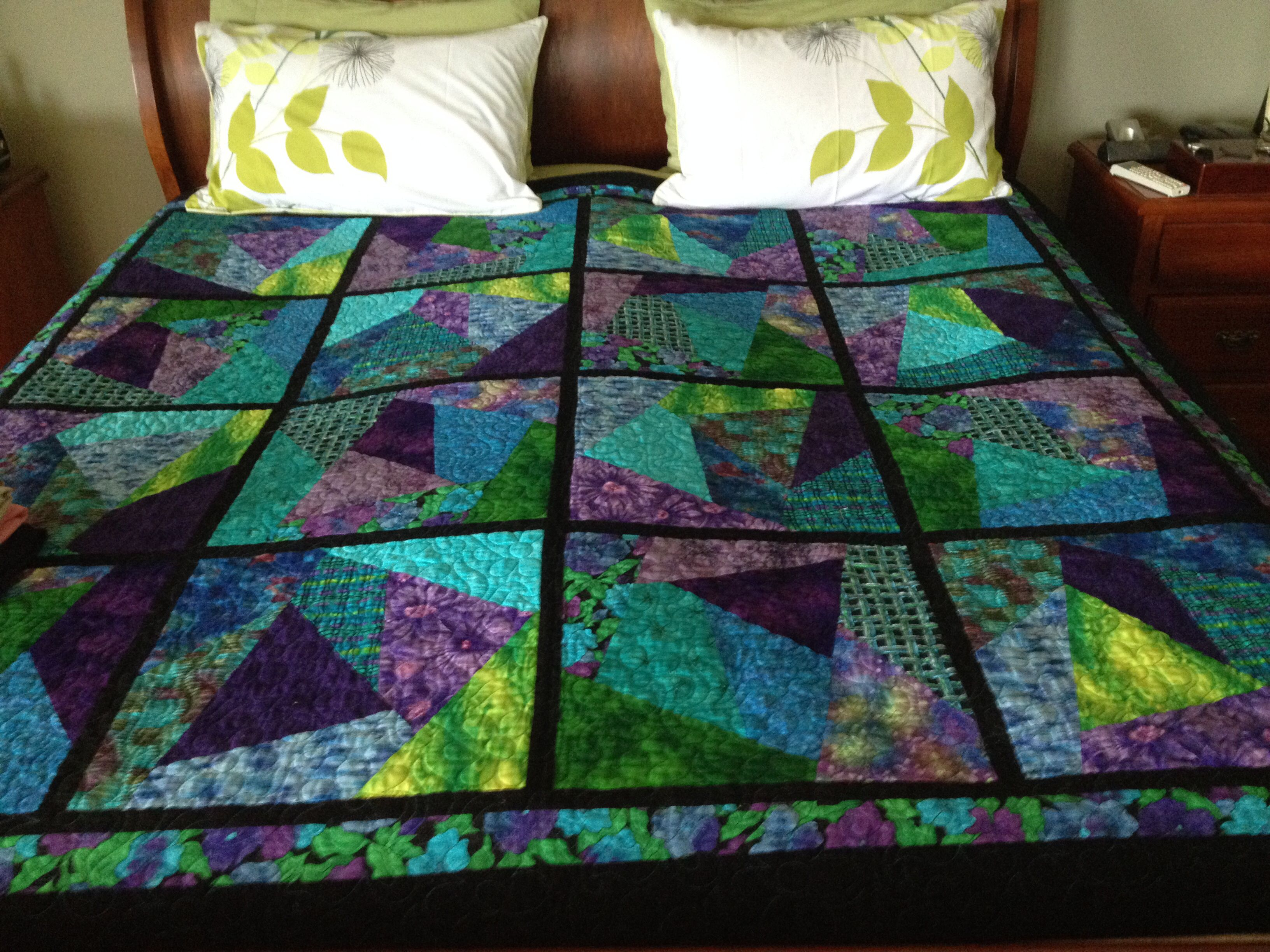 Blue and green stack and slash quilt made for camper trailer ... : stack and slash quilt - Adamdwight.com