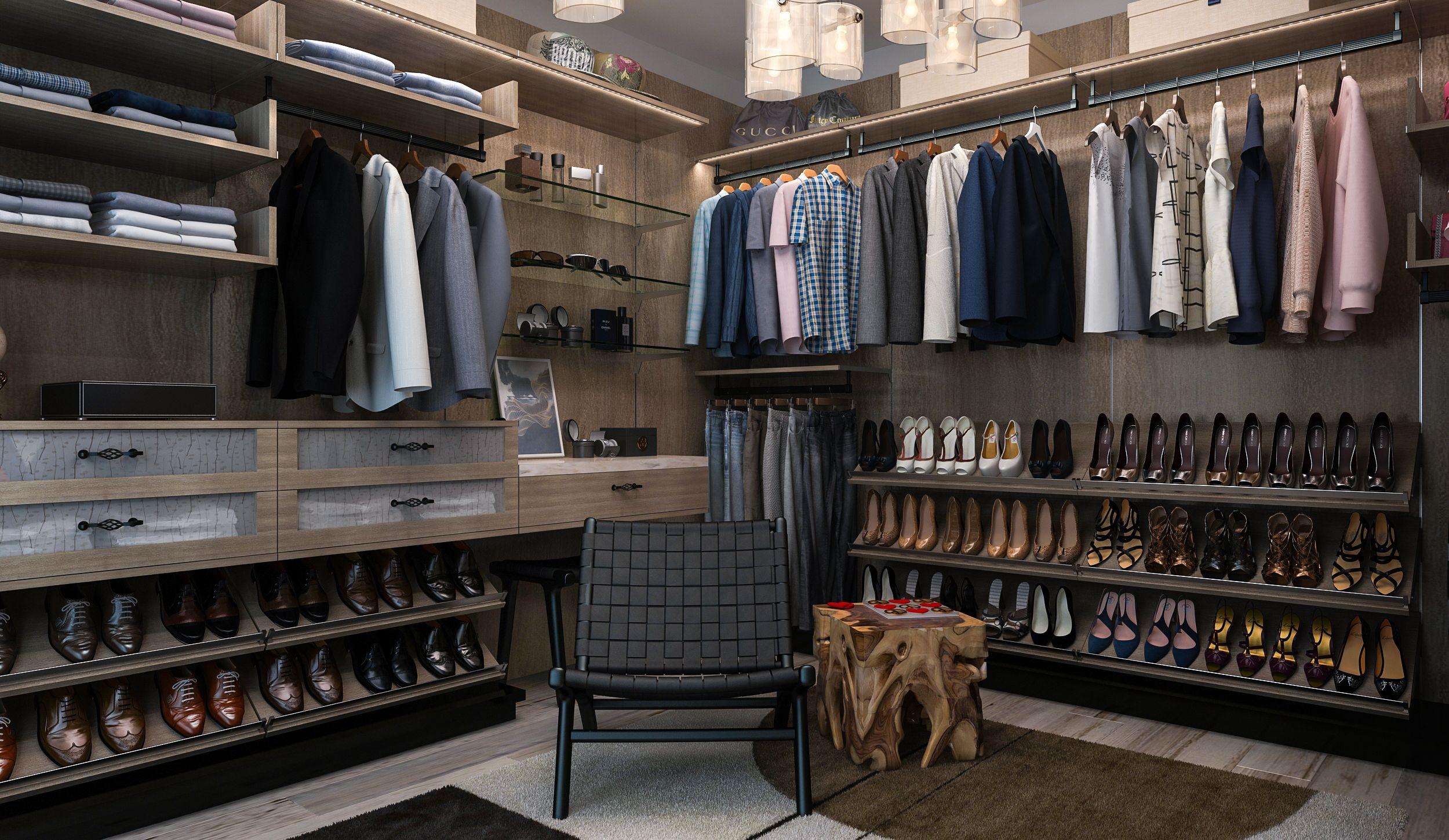 His side of the master closet includes u shelves for dress - Interior arrangement and design association ...