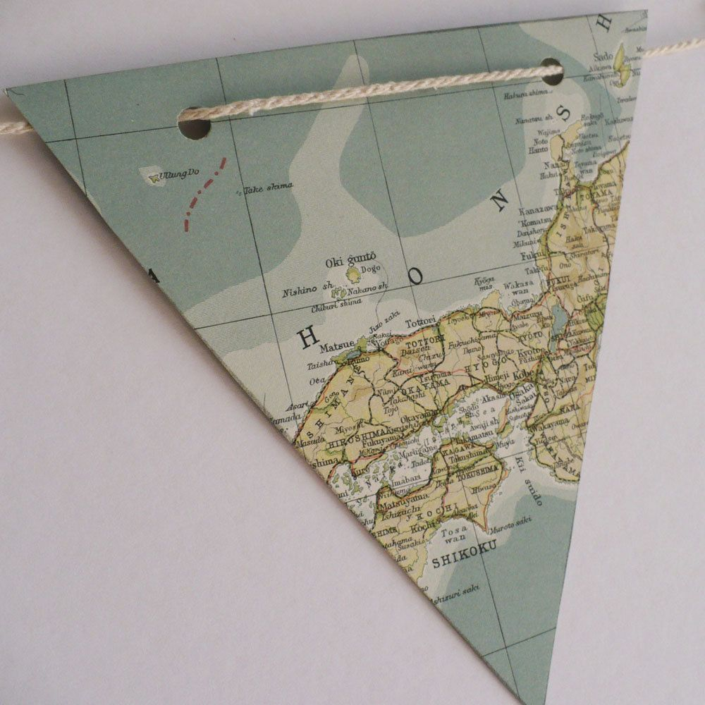 Atlas Decoration Paper Bunting Bon Voyage World Map Upcycled Vintage Paper
