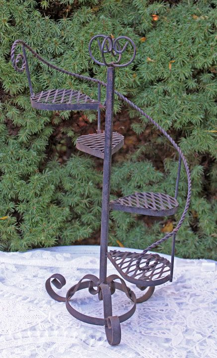 Spiral Staircase Display Stand Vintage Metal Stand Iron Stand Shaped as Spiral Stairs Rustic 4