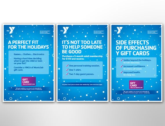 Poster Design Holiday Promotion Campaign Montclair YMCA YMCA - membership cards design