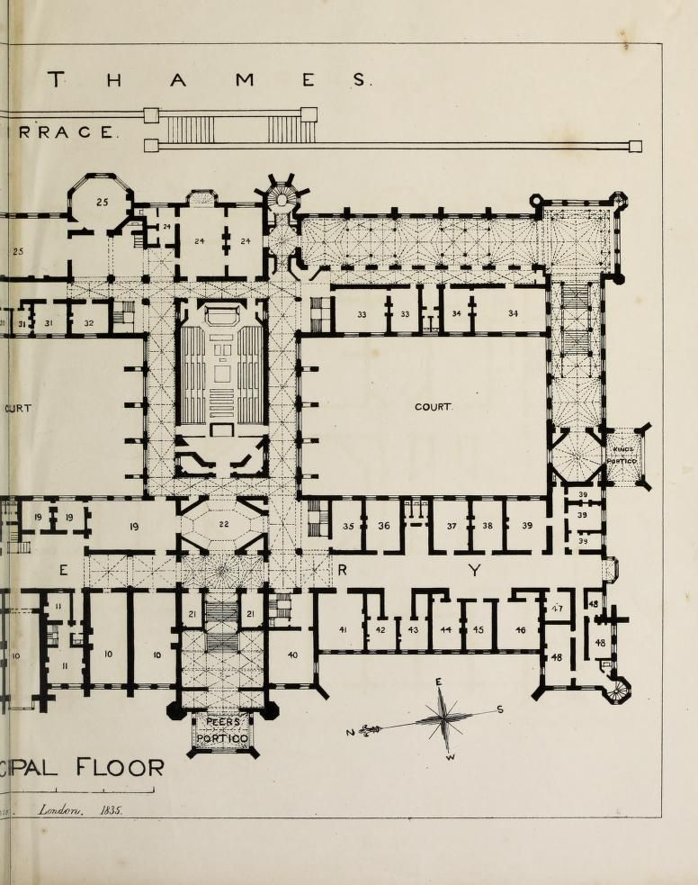Designs For The Proposed New Houses Of Parliament 1836 Plan Of Principal Floor Floor Plans Houses Of Parliament House Floor Plans