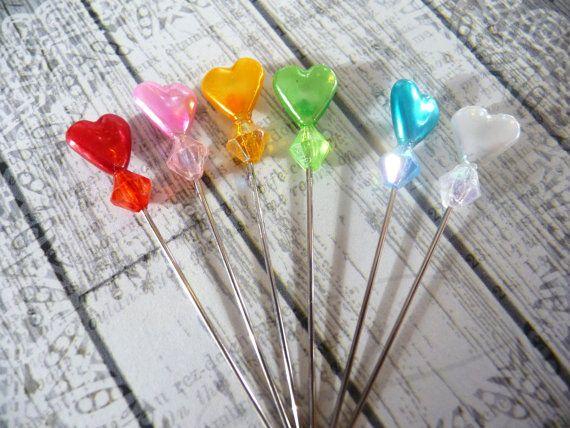 6 Rainbow Pearlized Valentine Heart Decorative by niknaxbyArlana, $1.50