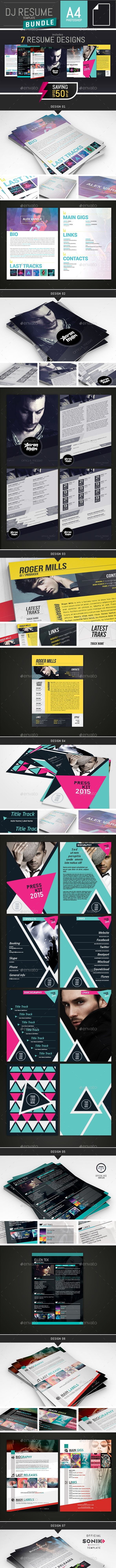 7 Resume Templates Bundle For Djs And Musicians Resumes
