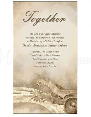 Wedding Invitation Templates Western Spurs Invitation Template - Wedding invitation templates: western wedding invitation templates