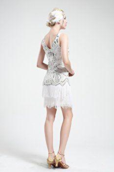 Yond Women S Fler Dresses 1920s V Neck Beaded Fringed